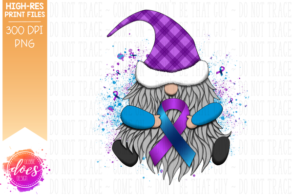 Awareness Ribbon Gnome - Blue/Purple - Sublimation/Printable Design