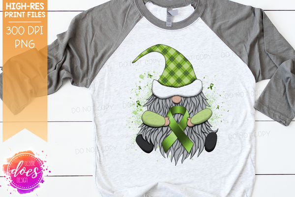Awareness Ribbon Gnome - Lime Green - Sublimation/Printable Design