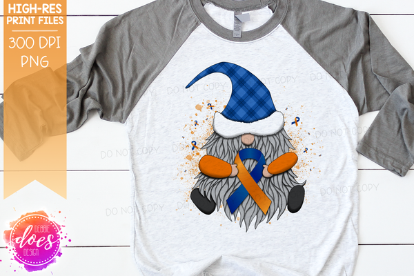 Awareness Ribbon Gnome - Orange Blue - Sublimation/Printable Design