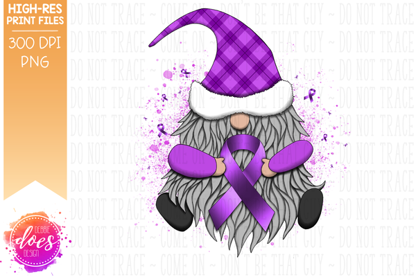 Awareness Ribbon Gnome - Orchid - Sublimation/Printable Design