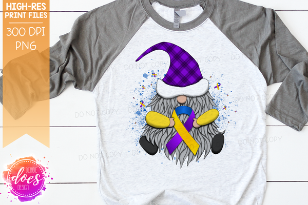 Awareness Ribbon Gnome - Purple Blue Yellow - Sublimation/Printable Design