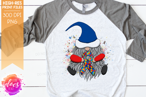 Awareness Ribbon Gnome - Puzzle/Autism - Sublimation/Printable Design