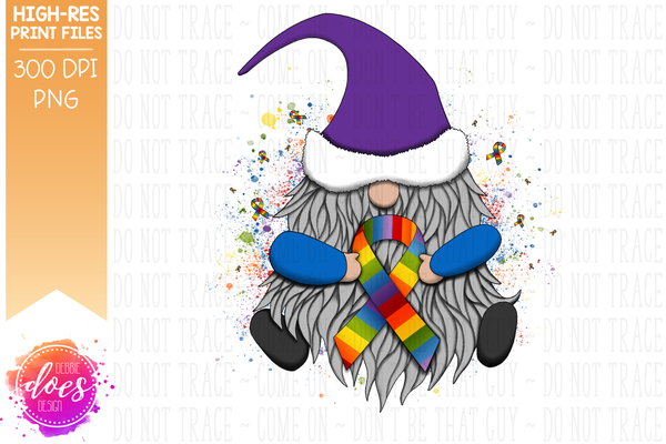 Awareness Ribbon Gnome - Rainbow - Sublimation/Printable Design