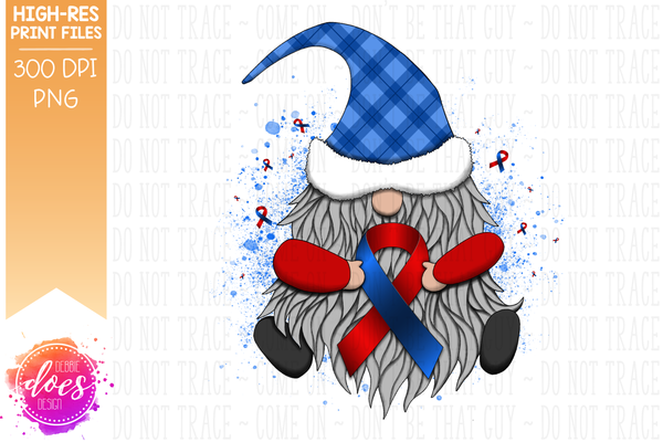 Awareness Ribbon Gnome - Red/Blue - Sublimation/Printable Design