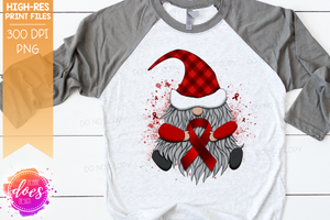 Awareness Ribbon Gnome - Red - Sublimation/Printable Design