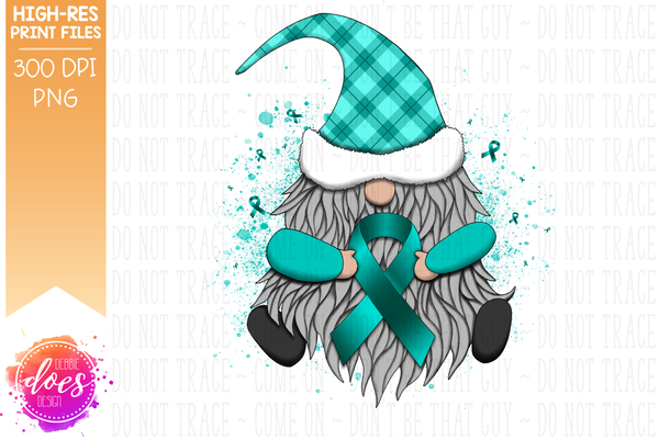 Awareness Ribbon Gnome - Teal - Sublimation/Printable Design