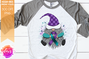 Awareness Ribbon Gnome - Teal/Purple - Suicide - Sublimation/Printable Design