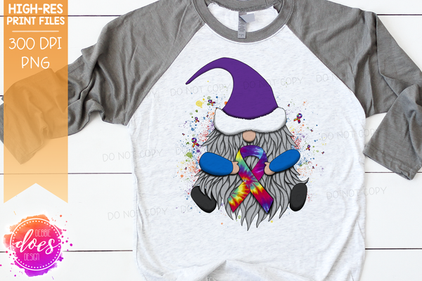Awareness Ribbon Gnome - Tie Dye - Sublimation/Printable Design
