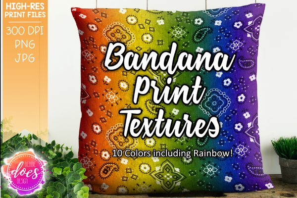 Real Bandana Print Textures - Design Elements