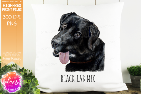 Black Lab Mix - Hand Drawn Dog Illustration - Sublimation/Printable Design
