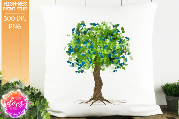 Blue/Green Heart Scatter Tree - Sublimation/Printable Design
