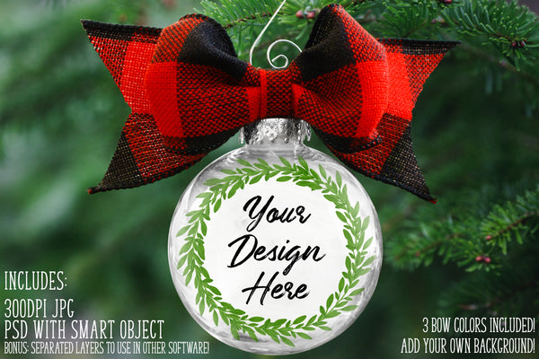 Transparent Ornament Mockup with No Bow or 3 Buffalo Plaid Bows - Smart Object - Silhouette Friendly
