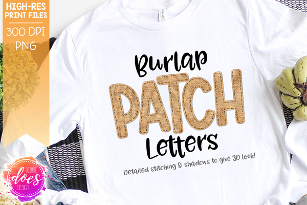 Burlap Patch Letters - Design Elements - Design Elements