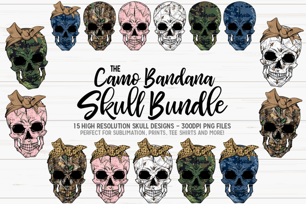 The Camo Bandana Skull Bundle - 15 Skull Designs! - Sublimation/Printable Design