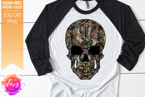 Deer in Woods Camo Skull - Sublimation/Printable Design