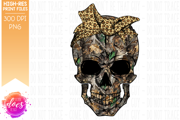 Deer in Woods Camo Skull - Leopard Bandana - Sublimation/Printable Design