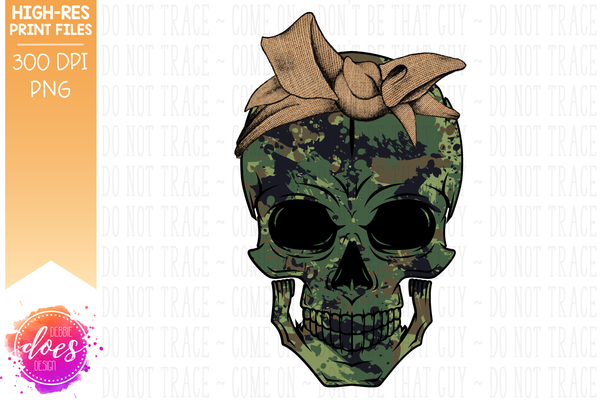 Green Camo Skull - Burlap Bandana - Sublimation/Printable Design