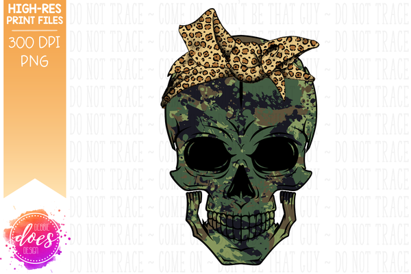 Green Camo Skull - Leopard Bandana - Sublimation/Printable Design