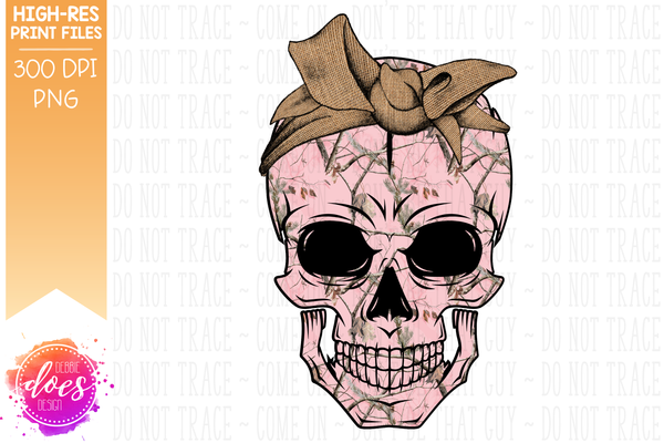 Pink Woods Camo Skull - Burlap Bandana - Sublimation/Printable Design
