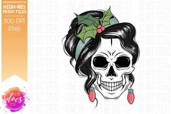 Christmas Messy Bun Skull - Soft Blue - Sublimation/Printable Design