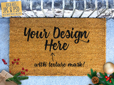 Christmas Coir Doormat Mockup with Smart Object