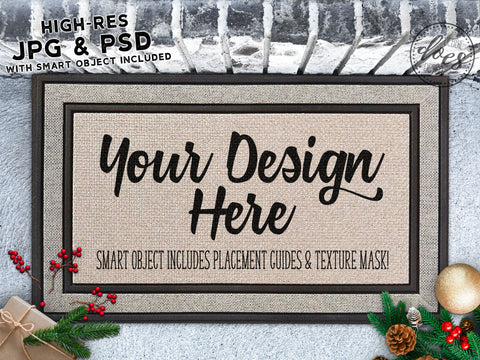 Christmas Grey Doormat Mockup with Smart Object