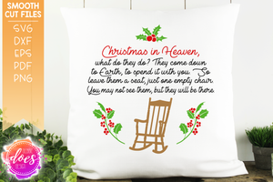 Christmas In Heaven Poem Svg.Christmas In Heaven Chair Poem Circle Svg File