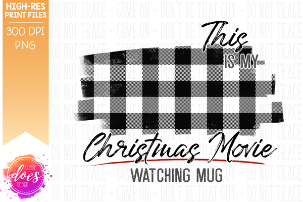Christmas Movie Watching - Mug - Red with White Plaid Gnomes - Sublimation/Printable Design