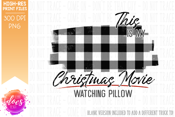 Christmas Movie Watching - Pillow - Mint with White Plaid Presents - Sublimation/Printable Design