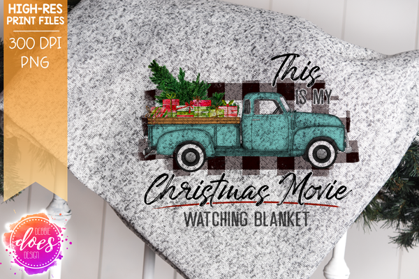 Christmas Movie Watching - Blanket - Mint with White Plaid Presents - Sublimation/Printable Design
