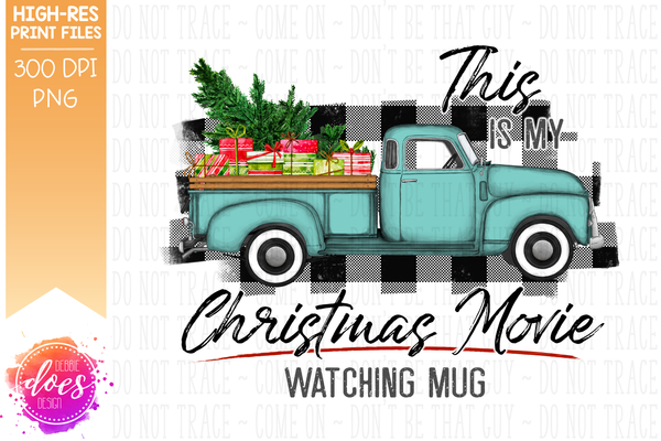 Christmas Movie Watching - Mug - Mint with White Plaid Presents - Sublimation/Printable Design