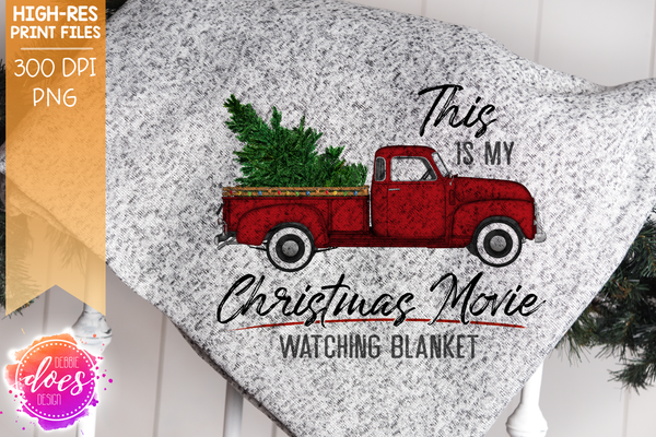 Christmas Movie Watching - Blanket - Red - Christmas Tree - Sublimation/Printable Design