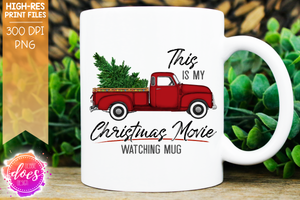 Christmas Movie Watching - Mug - Red - Christmas Tree - Sublimation/Printable Design