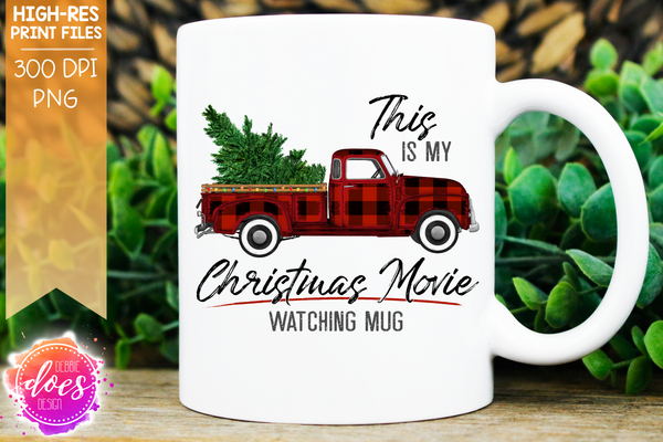 Christmas Movie Watching - Mug - Red Plaid - Christmas Tree - Sublimation/Printable Design