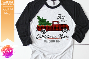 Christmas Movie Watching - Shirt - Red Plaid - Christmas Tree - Sublimation/Printable Design