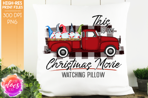 Christmas Movie Watching - Pillow - Red with White Plaid Gnomes - Sublimation/Printable Design