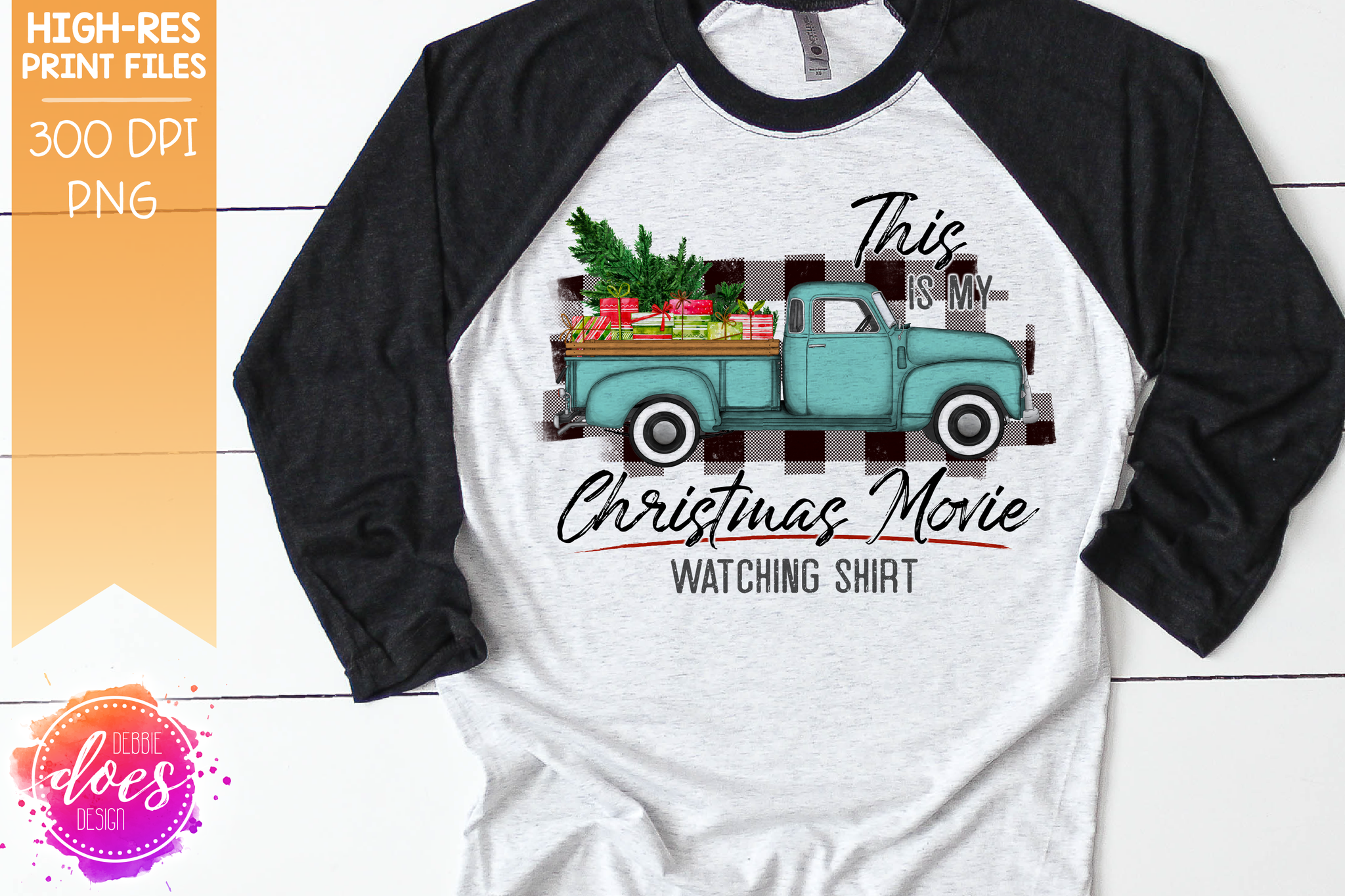Christmas Movie Watching - Shirt - Mint with White Plaid Presents - Sublimation/Printable Design