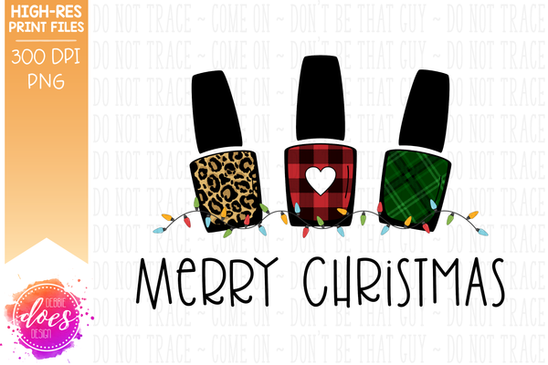 Christmas Leopard Plaid Nail Polish Applique With Lights - Sublimation/Printable Design