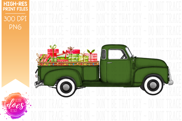 Christmas Present Truck - Green - Sublimation/Printable Design