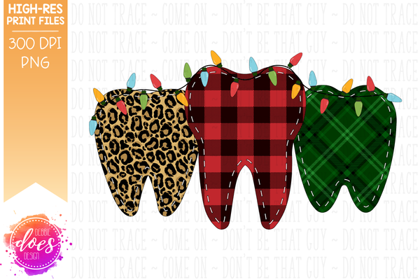 Christmas Leopard Plaid Teeth With Lights - Sublimation/Printable Design