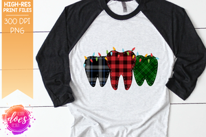 Christmas Plaid Teeth With Lights - Sublimation/Printable Design