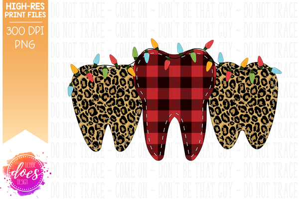 Christmas Leopard Plaid Teeth With Lights 2 - Sublimation/Printable Design