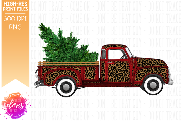Christmas Tree Truck - Leopard Red - Sublimation/Printable Design