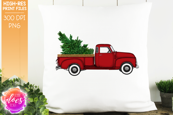 Christmas Tree Truck - Red - Sublimation/Printable Design
