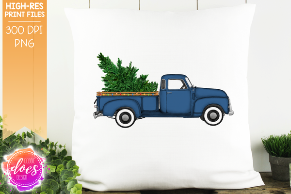 Christmas Tree and Lights Truck - Blue - Sublimation/Printable Design