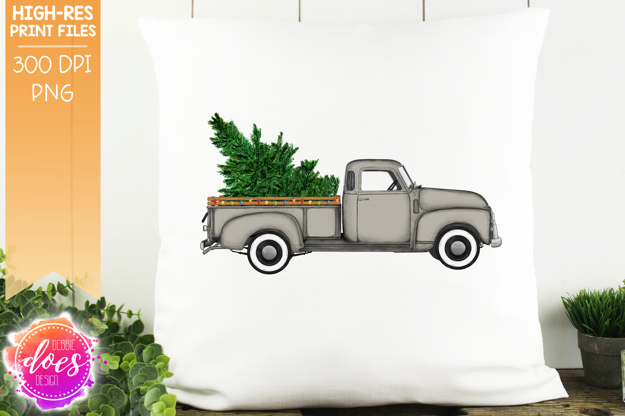 Christmas Tree and Lights Truck - Grey - Sublimation/Printable Design