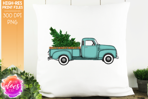 Christmas Tree and Lights Truck - Mint - Sublimation/Printable Design