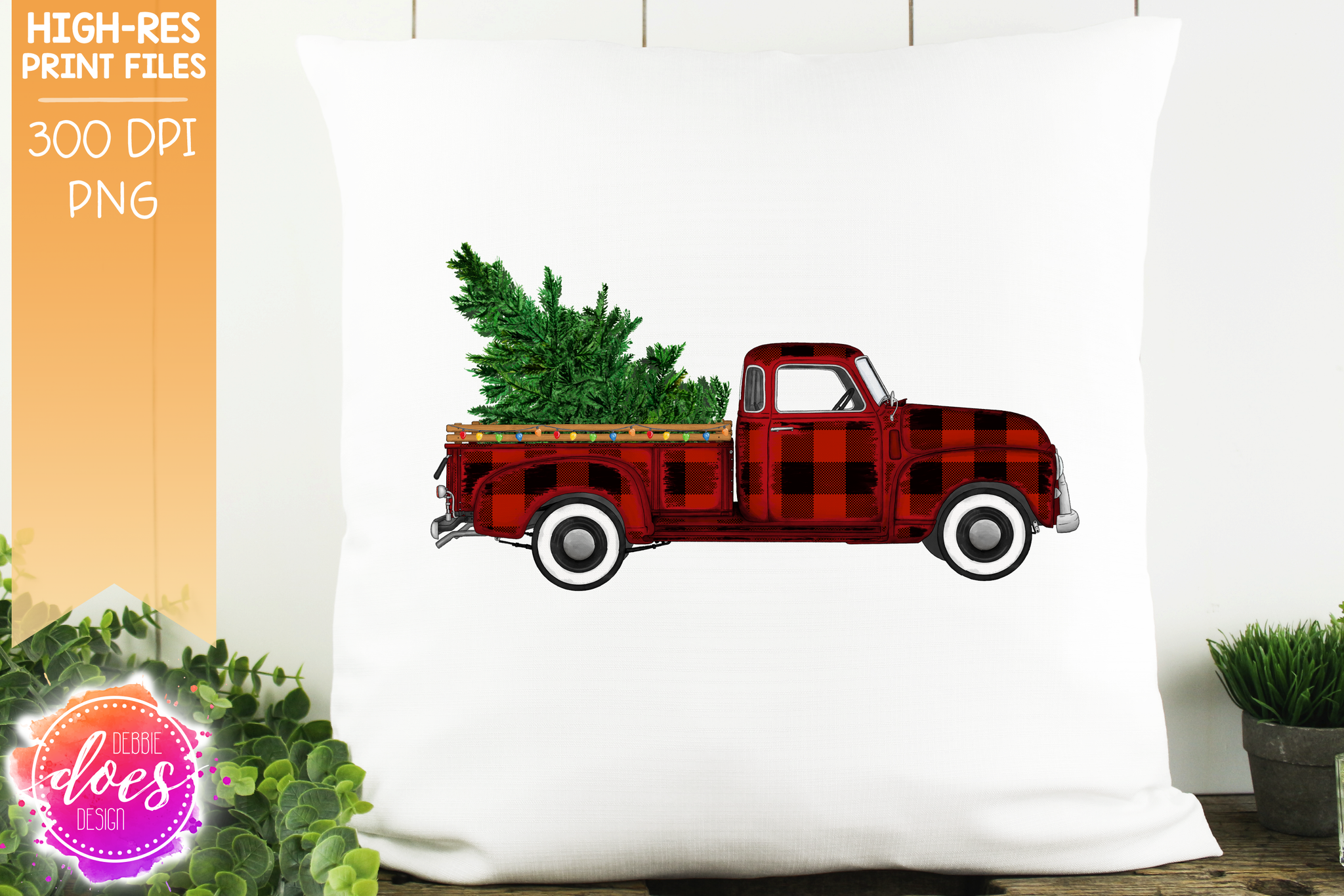 Christmas Tree and Lights Truck - Red Plaid - Sublimation/Printable Design