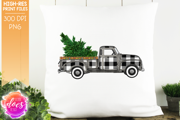 Christmas Tree and Lights Truck - White Plaid - Sublimation/Printable Design