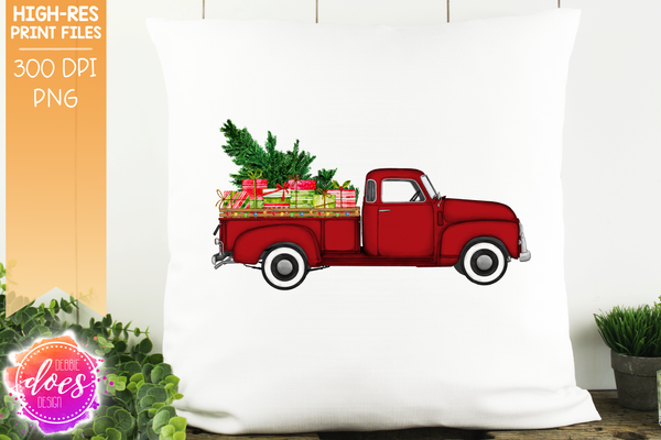 Christmas Tree and Presents Truck - Red - Sublimation/Printable Design